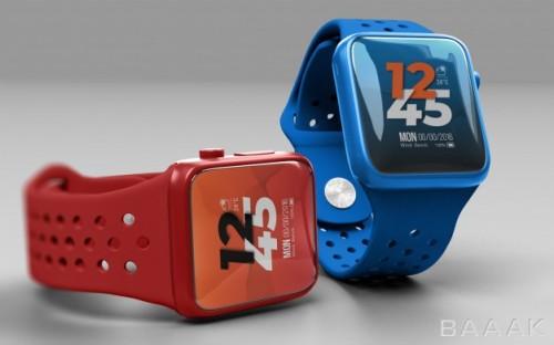 موکاپ ساعت هوشمند آبی و قرمز