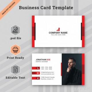 قالب خلاقانه کارت های تجاری به رنگ قرمز و سفید