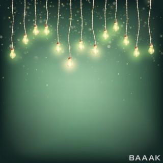 پس زمینه جذاب و انتزاعی با لامپ های روشن با تم کریسمس با پس زمینه سبز