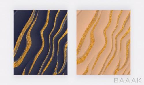 پس زمینه های انتزاعی جذاب آبی و کرم رنگ با طرح های موجی شکل جوهر طلایی رنگ