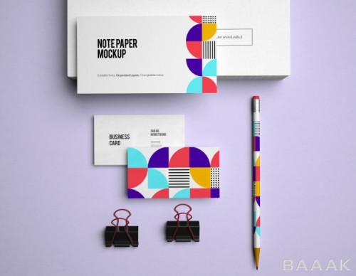 موکاپ جذاب لوازم برندینگ شرکت ها مانند مداد و کارت ویزیت و دفترچه