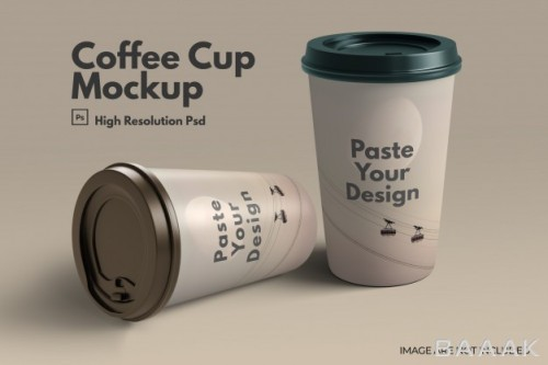 موکاپ جذاب لیوان کاغذی قهوه