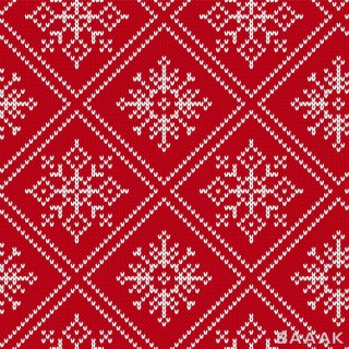 طرح الگوی جذاب کریسمسی با نقش های سفید رنگ با پس زمینه ی از جنس پارچه ی بافتنی قرمز رنگ