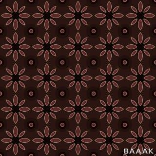 پترن جذاب سنتی و گلدار با نقش ها و گل های قهوه ای رنگ با پس زمینه قهوه ای