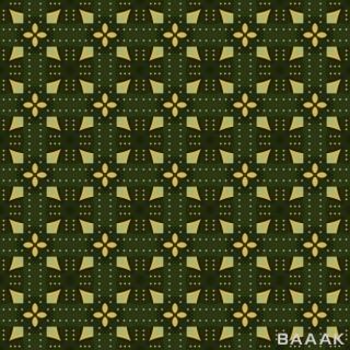 طرح الگو یکپارچه ی جذاب هندسی و سنتی و گلدار با نقش های زرد رنگ با پس زمینه سبز پارچه ای