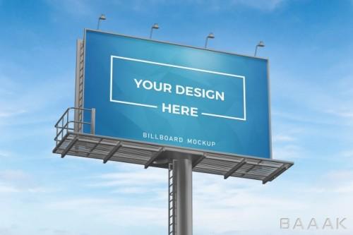 موکاپ بیلبورد های تبلیغاتی با پس زمینه آسمان آبی