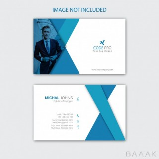 قالب کارت ویزیت خلاقانه و هنری سفید و آبی رنگ