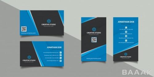 قالب کارت ویزیت های جذاب آبی و مشکی رنگ