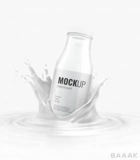 موکاپ تبلیغاتی بطری شیر