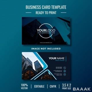 قالب کارت ویزیت خلاقانه و شیک به رنگ آبی تیره به همراه عکس ساختمان