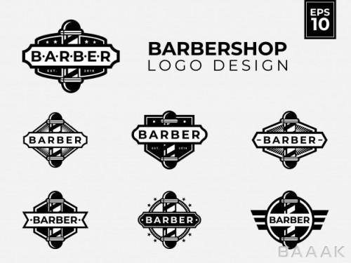 ست لوگو جذاب سیاه و سفید برای آرایشگاه  با استایل وینتیج و رترو