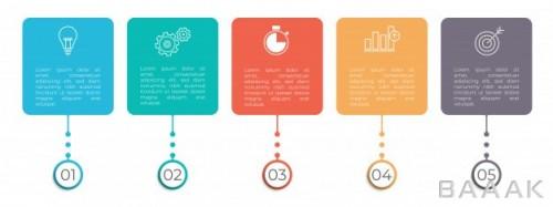 قالب اینفوگرافیک 5 مرحله ای حرفه ای