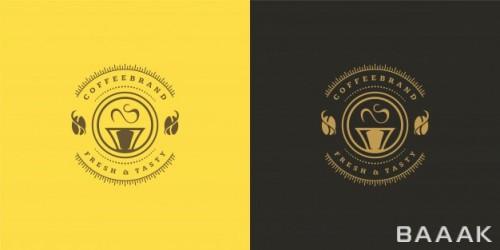 لوگوی جذاب مشکی و زرد رنگ برای کافی شاپ ها با طرح فنجان چای