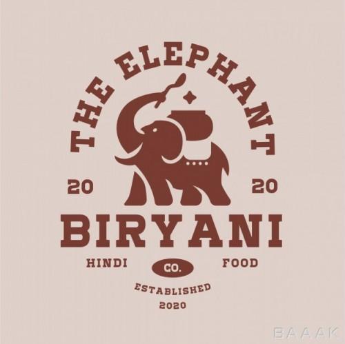 لوگوی جذاب برای غذاهای بریانی همراه با فیل