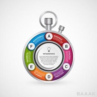 قالب اینفوگرافیک 6 مرحله ای با موضوع مدیریت زمان