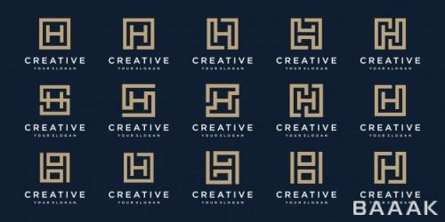 ست لوگو جذاب و حرفه ای حرف اچ با استایل مربعی