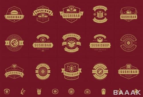 ست لوگو های جذاب برای رستوران ها با رول های ماهی سالمون و سوشی