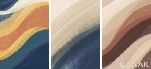 ست پس زمینه های جذاب و هنری با طرح های موجی شکل نقاشی شده