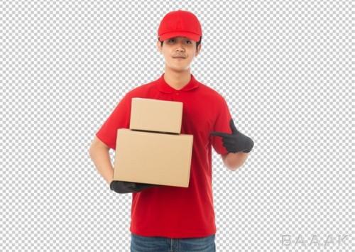 موکاپ بسته پستی به همراه پیک جوان