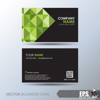 کارت ویزیت تجاری سبز و مشکی طرح هندسی
