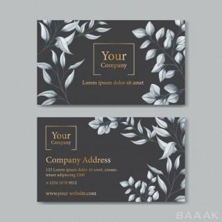 قالب کارت ویزیت جذاب و خلاثانه با طرح برگ های سفید رنگ