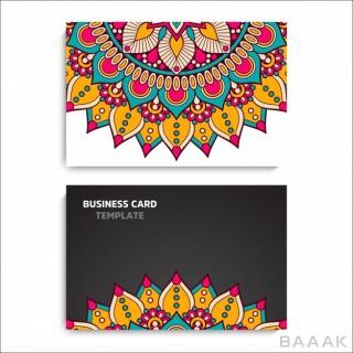 قالب کارت ویزیت جذاب و خلاقانه با طرح های گلدار رنگارنگ با استایل ماندلا