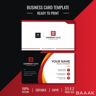 قالب کارت ویزیت سفید و مشکی رنگ با جزییات قرمز رنگ از نمای جلو و پشت