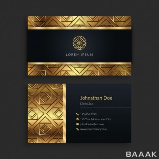 قالب کارت ویزیت جذاب لوکس طلایی و مشکی رنگ
