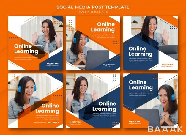 قالب-پست-های-اینستاگرام-با-مفهوم-آموزش-آنلاین-با-تم-نارنجی-رنگ_321260926