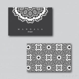 ست کارت ویزیت های سیاه و سفیدبا طرح های گل دار نقاشی شده با استایل ماندالا