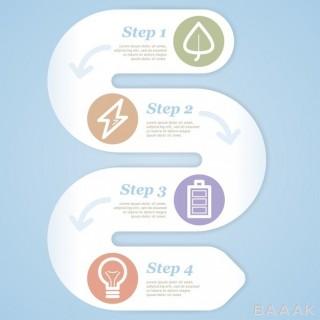 قالب اینفوگرافیک وکتوری 4 مرحله ای