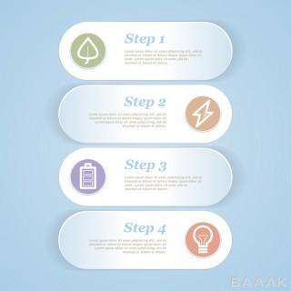 قالب اینفوگرافیک وکتوری 4 مرحله ای و زیبا