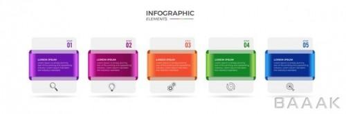 اینفوگرافیک پنج مرحله ای رنگارنگ