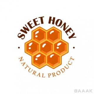 برچسب عسل  لوگوی لانه زنبور با بکگراند سفید
