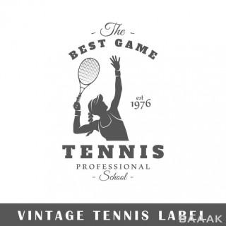 لیبل و برچسب تنیس با پس زمینه سفید