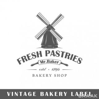لوگو و برچسب سیاه و سفید برای نانوایی