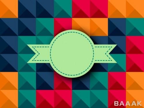 پس زمینه جذاب با طرح اشکال هندسی رنگارنگ به همراه نشان و برچسب