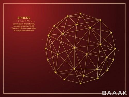 پس زمینه قرمز رنگ جذاب با طرح آرت لاین چند ضلعی طلایی رنگ