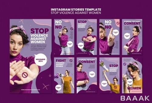 قالب پست اینستاگرام با تم خشونت علیه زنان