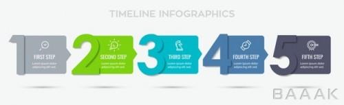 قالب اینفوگرافیک وکتوری 5 مرحله ای حرفه ای