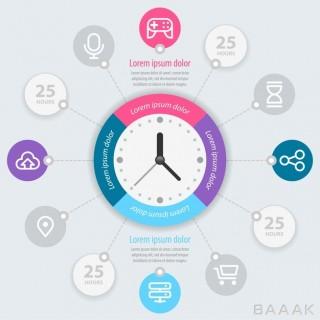 قالب اینفوگرافیک وکتوری با طراحی حرفه ای و محوریت زمان