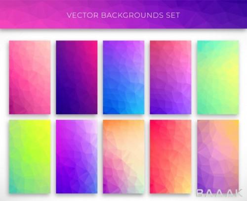 ست تصویر وکتوری پس زمینه با رنگ های زیبای گرادینت