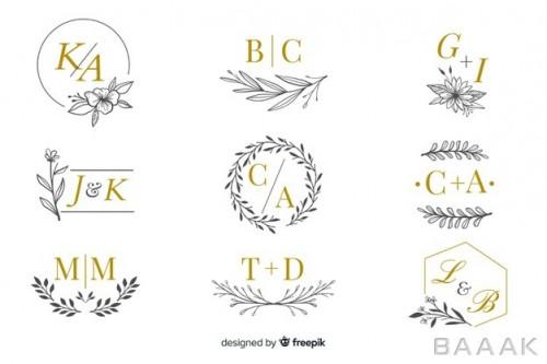 ست وکتوری از لوگوی آماده لاکچری با حروف