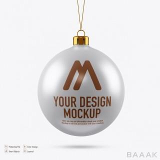 موکاپ زیبا و حرفه ای برای درج روی توپ کریسمس