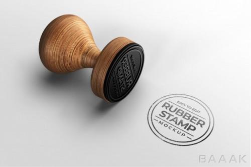 موکاپ مهر زیبای چوبی برای نمایش لوگو