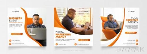 مجموعه قالب اینستاگرام با موضوع آژانس دیجیتال مارکتینگ و دیزاین نارنجی