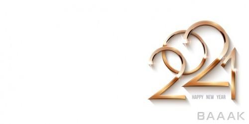 قالب کارت پستال و پس زمینه برای تبریک سال نو ۲۰۲۱ با دیزاین طلایی و درخشان اعداد