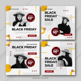 کالکشن قالب پست اینستاگرام با دیزاین زرد و قرمز رنگ و موضوع کمپین جمعه سیاه