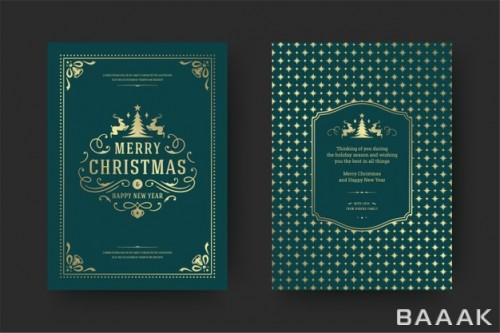 کارت پستال تایپوگرافی با فریم تزئینی برای تبریک کریسمس