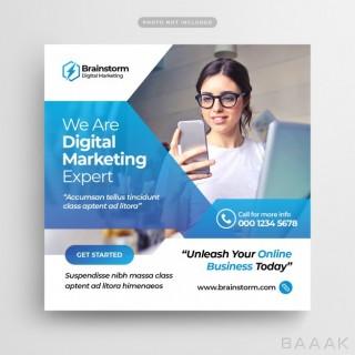 قالب بنر وب و پست شبکه های اجتماعی با موضوع کسب و کار های دیجیتالی